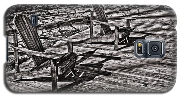 Galaxy S5 Case featuring the photograph Two Adirondack Chairs In B/w by Greg Jackson