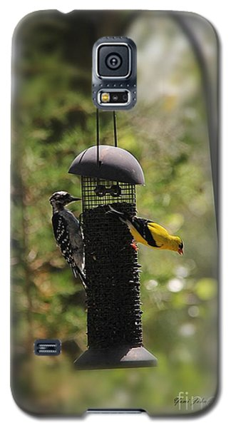 Galaxy S5 Case featuring the photograph Two Birds On The Feeder by Yumi Johnson