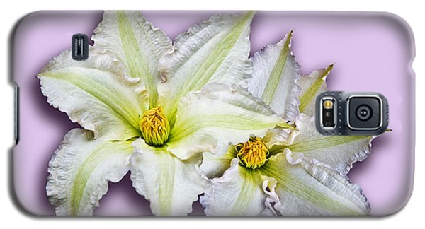 Two Clematis Flowers On Pale Purple Galaxy S5 Case by Jane McIlroy