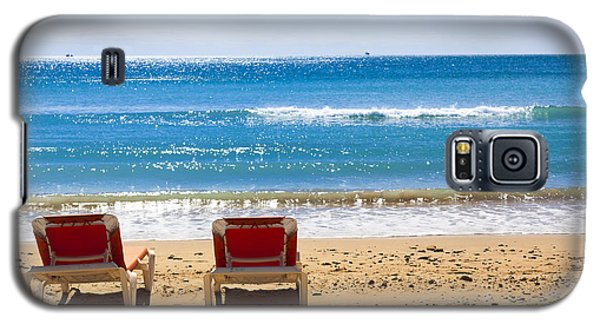 Two Empty Sun Loungers On Beach By Sea Galaxy S5 Case