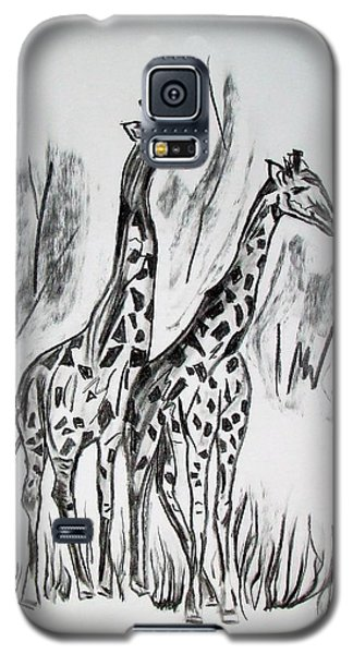 Galaxy S5 Case featuring the drawing Two Giraffe's In Graphite by Janice Rae Pariza