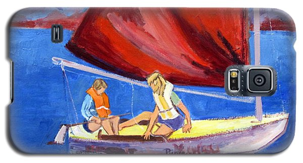 Galaxy S5 Case featuring the painting Two Girls Set To Sail With Red Sail by Betty Pieper
