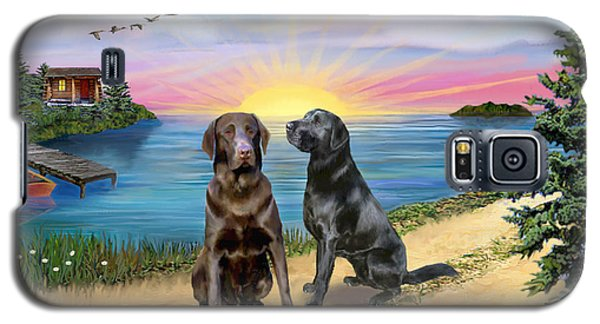 Galaxy S5 Case featuring the digital art Two Labs At The Lake by Jean B Fitzgerald