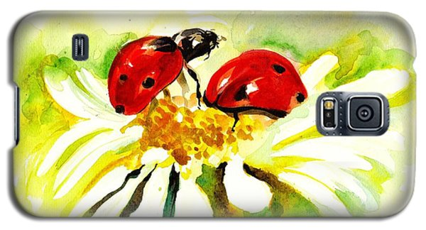 Two Ladybugs In Daisy After My Original Watercolor Galaxy S5 Case by Tiberiu Soos