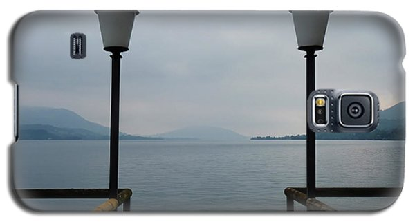 Galaxy S5 Case featuring the photograph Two Lanterns At The Jetty Pier Of Lake Attersee by Menega Sabidussi