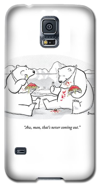 Two Polar Bears Eat Spaghetti And Meatballs.  One Galaxy S5 Case