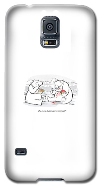 Polar Bear Galaxy S5 Case - Two Polar Bears Eat Spaghetti And Meatballs.  One by Benjamin Schwartz