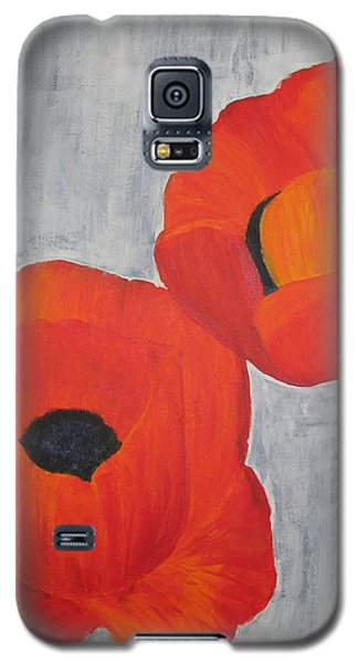Two Poppies And Old Denim Galaxy S5 Case by Stephanie Grant