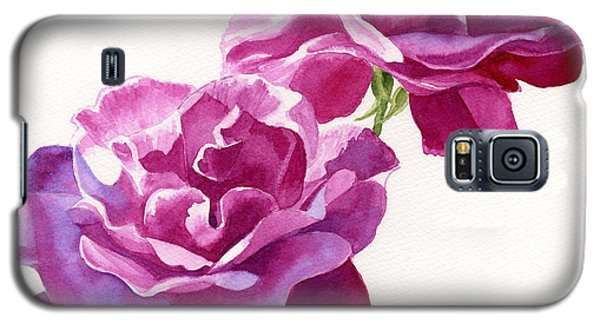 Two Red Violet Rose Blossoms Square Design Galaxy S5 Case