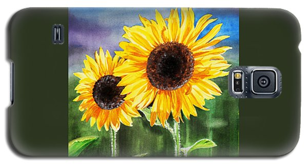 Galaxy S5 Case featuring the painting Two Sunflowers by Irina Sztukowski