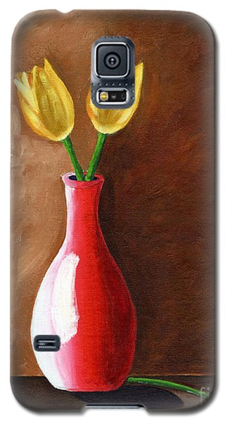 Galaxy S5 Case featuring the painting Two Tulips And A Pink Rose by Laura Forde