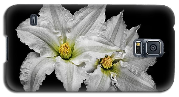 Two White Clematis Flowers On Black Galaxy S5 Case