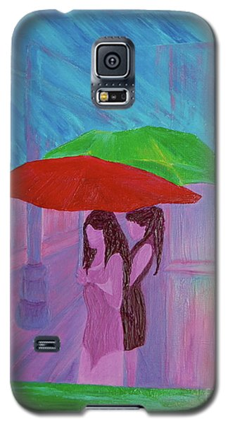 Galaxy S5 Case featuring the painting Umbrella Girls by First Star Art