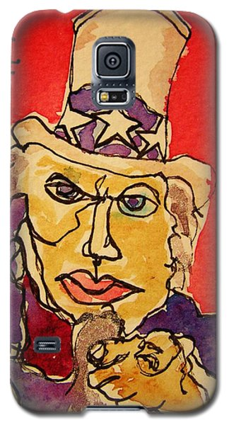 Galaxy S5 Case featuring the painting Uncle Sam Defy Tyranny by Rand Swift