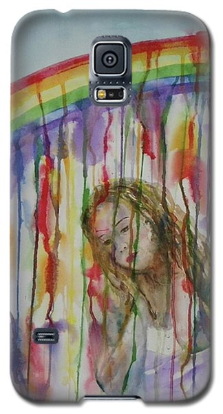 Galaxy S5 Case featuring the painting Under A Crying Rainbow by Anna Ruzsan