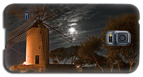 Vintage Windmill In Es Castell Villacarlos George Town In Minorca -  Under The Moonlight Galaxy S5 Case by Pedro Cardona