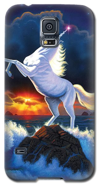 Unicorn Raging Sea Galaxy S5 Case by Chris Heitt