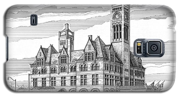 Galaxy S5 Case featuring the drawing Union Station In Nashville Tn by Janet King