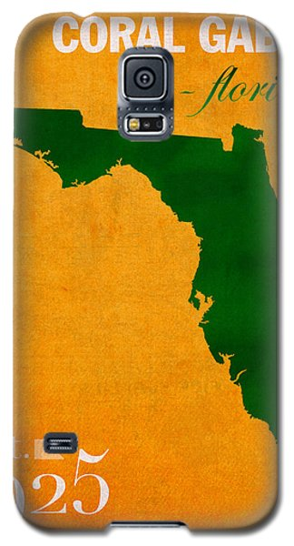 University Of Miami Hurricanes Coral Gables College Town Florida State Map Poster Series No 002 Galaxy S5 Case by Design Turnpike