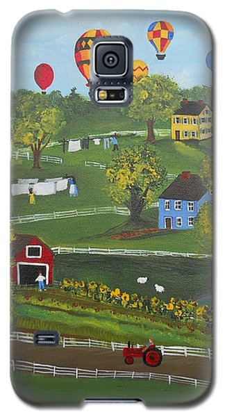 Galaxy S5 Case featuring the painting Up Up And Away by Virginia Coyle
