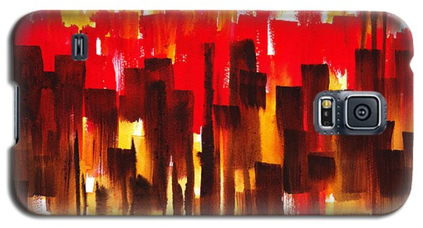 Galaxy S5 Case featuring the painting Urban Abstract Glowing City by Irina Sztukowski
