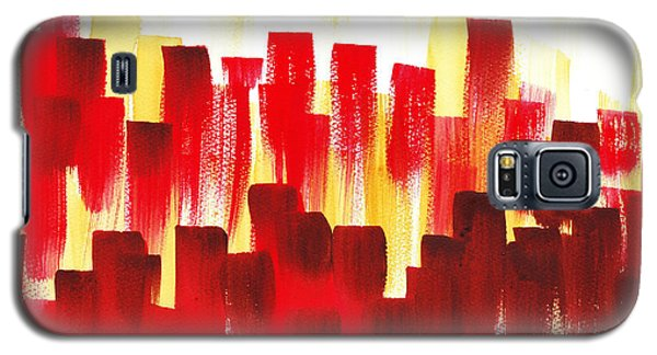 Galaxy S5 Case featuring the painting Urban Abstract Red City Lights by Irina Sztukowski
