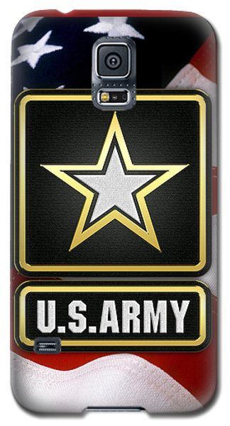 U. S. Army Logo Over American Flag. Galaxy S5 Case