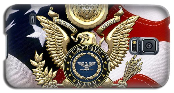 U. S.  Navy Captain - C A P T  Rank Insignia Over Gold Great Seal Eagle And Flag Galaxy S5 Case