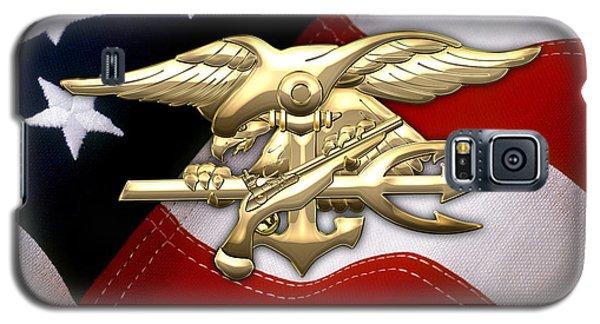 U. S. Navy S E A Ls Emblem Over American Flag Galaxy S5 Case