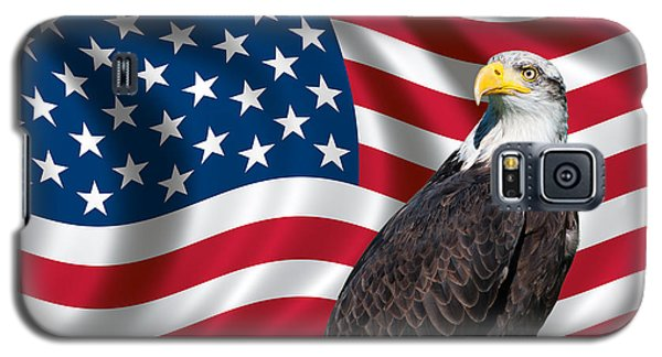 Galaxy S5 Case featuring the photograph Usa Flag And Bald Eagle by Carsten Reisinger