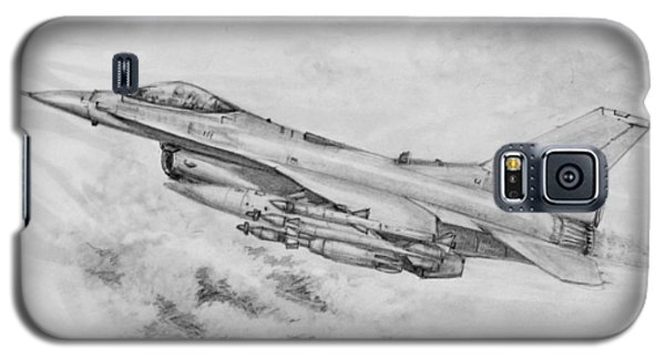 Galaxy S5 Case featuring the drawing Usaf F-16 Fighting Falcon by Jim Hubbard