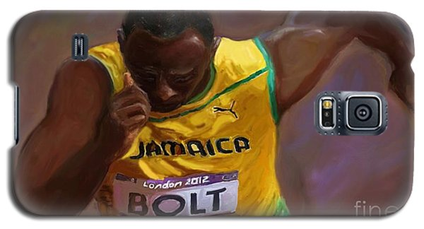 Galaxy S5 Case featuring the painting Usain Bolt 2012 Olympics by Vannetta Ferguson