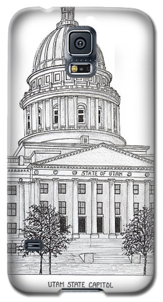 Galaxy S5 Case featuring the drawing Utah State Capitol by Frederic Kohli