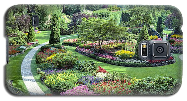 Vancouver Butchart Sunken Gardens Beautiful Flowers No People Panorama Galaxy S5 Case by David Zanzinger