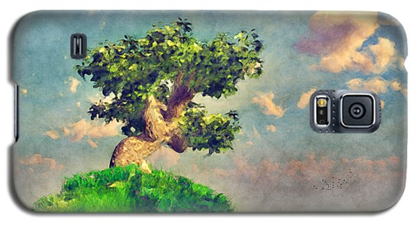 Galaxy S5 Case featuring the digital art Variation On Tree On A Steep Hill... by Tim Fillingim
