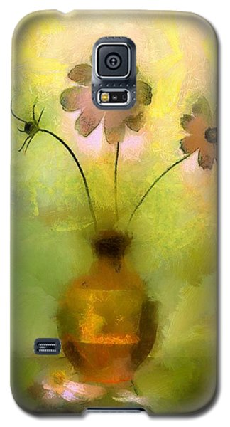 Galaxy S5 Case featuring the painting Vase And Flower Glow by Wayne Pascall