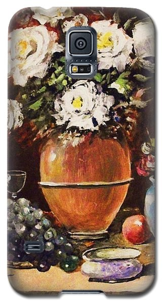 Galaxy S5 Case featuring the painting Vase Of Flowers And Fruit by Al Brown