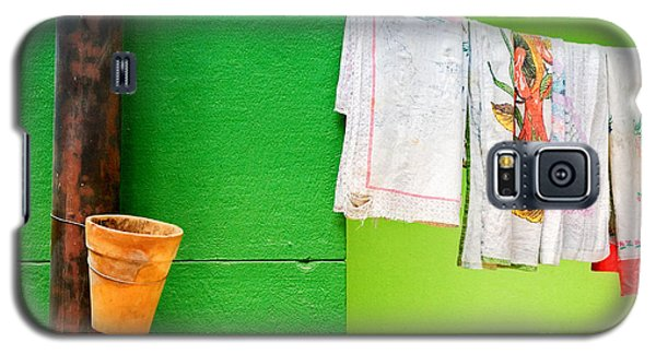 Galaxy S5 Case featuring the photograph Vase Towels And Green Wall by Silvia Ganora