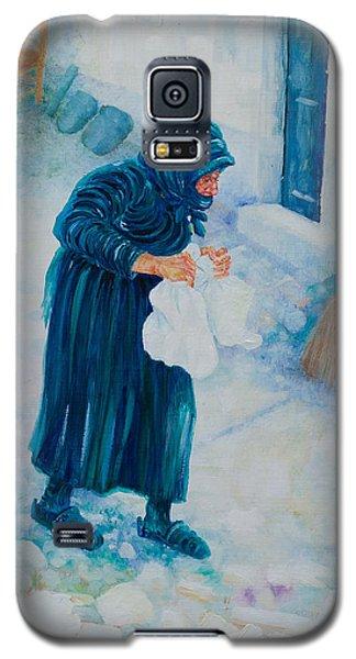 Galaxy S5 Case featuring the painting Forenza Vita Nonna Filomena In Blu by Giovanni Caputo