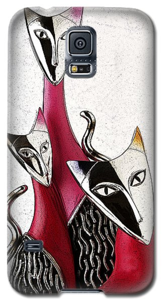 Galaxy S5 Case featuring the drawing Venetian Cats by Selke Boris