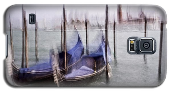 Galaxy S5 Case featuring the photograph Abstract Black And White Blue Venice Italy Photography Art Work by Artecco Fine Art Photography