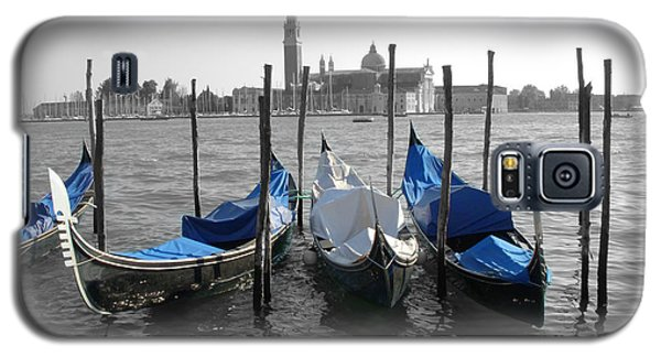 Venice Italy Boats In Black And Blue Galaxy S5 Case