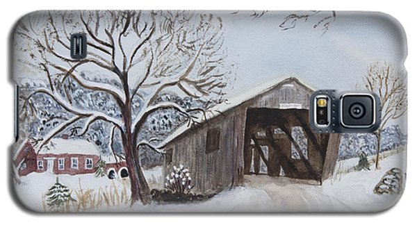 Vermont Covered Bridge In Winter Galaxy S5 Case by Donna Walsh