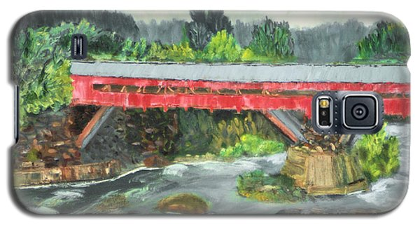 Galaxy S5 Case featuring the painting Vermont Covered Bridge by Michael Daniels