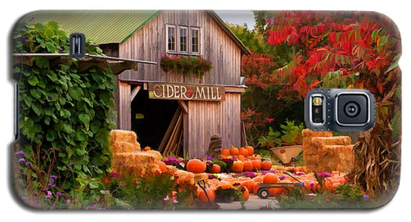 Galaxy S5 Case featuring the photograph Vermont Pumpkins And Autumn Flowers by Jeff Folger