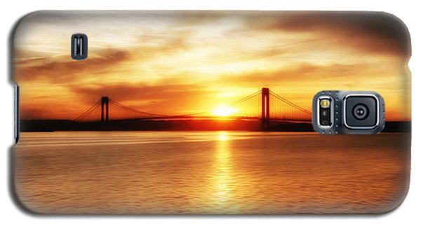 Galaxy S5 Case featuring the painting Verrazano Bridge At Sunset by Boris Mordukhayev