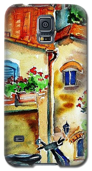 Galaxy S5 Case featuring the painting Vespa In Tuscany  by Trudi Doyle