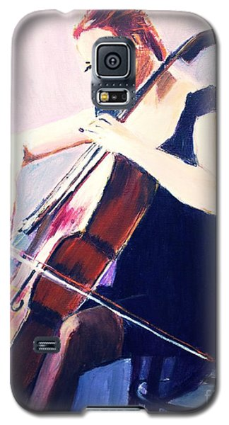 Galaxy S5 Case featuring the painting Vibrato In Blue by Judy Kay