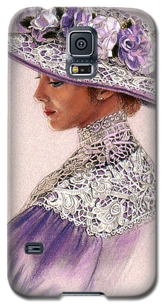 Galaxy S5 Case featuring the painting Victorian Lady In Lavender Lace by Sue Halstenberg