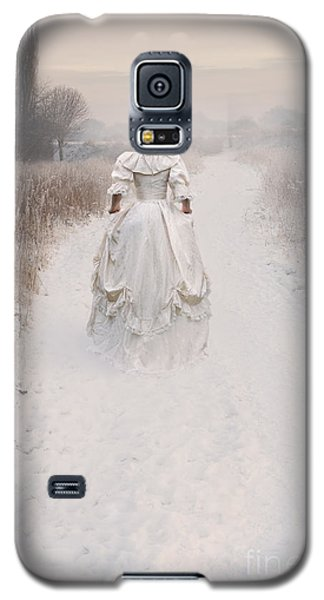 Victorian Woman Walking Through A Winter Meadow Galaxy S5 Case